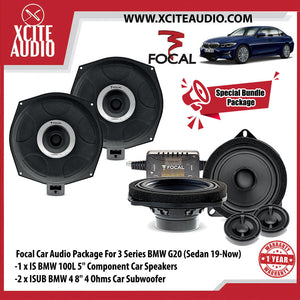 "Focal Car Audio Bundle Package Set 2 for BMW 3 & 5 Series (1 x IS BMW 100L 5"" Component Car Speakers + 2 x ISUB BMW 4 8"" Car Subwoofer) - Xcite Audio"