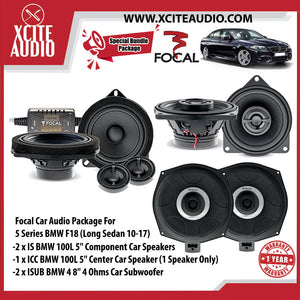 "Focal Car Audio Bundle Package Set 5 for BMW 5 Series (2 x IS BMW 100L 5"" Component Car Speakers + 1 x ICC BMW 100 5"" Center Car Speakers + 2 x ISUB BMW 4 8"" Car Subwoofer) - Xcite Audio"