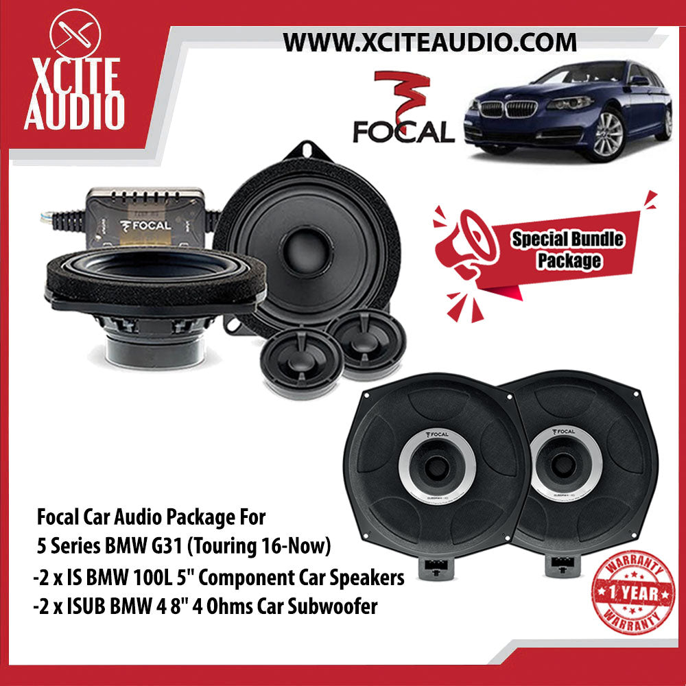 "Focal Car Audio Bundle Package Set 4 for BMW 5 Series (2 x IS BMW 100L 5"" Component Car Speakers + 2 x ISUB BMW 4 8"" Car Subwoofer) - Xcite Audio"