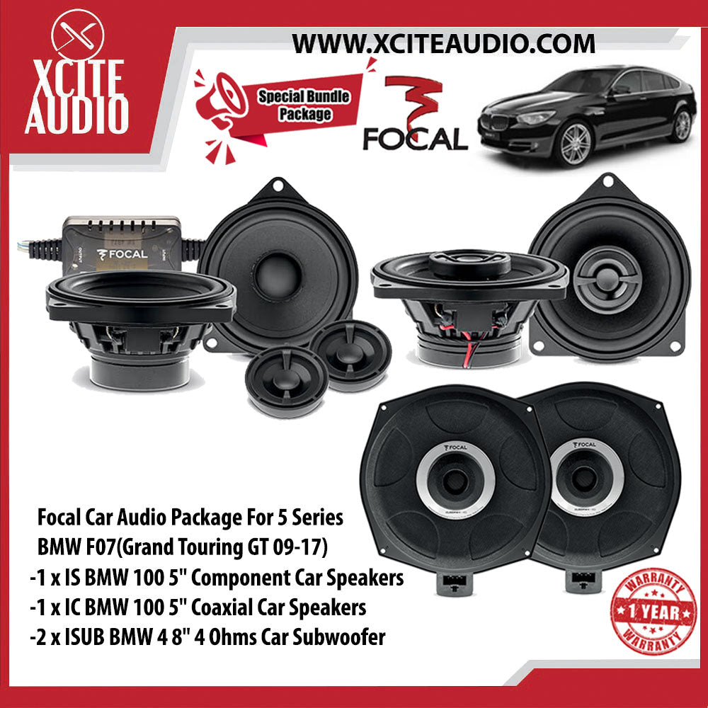 "Focal Car Audio Bundle Package Set 8 for BMW 5 Series F07 (Grand Tourismo GT 09-17) (1 x IS BMW 100 5"" Component Car Speakers + 1 x IC BMW 100 5"" Coaxial Car Speakers + 2 x ISUB BMW 4 8"" Car Subwoofer) - Xcite Audio"