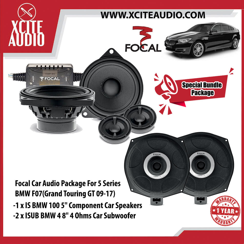 "Focal Car Audio Bundle Package Set 7 for BMW 5 Series F07 (Grand Tourismo GT 09-17) (1 x IS BMW 100 5"" Component Car Speakers + 2 x ISUB BMW 4 8"" Car Subwoofer) - Xcite Audio"