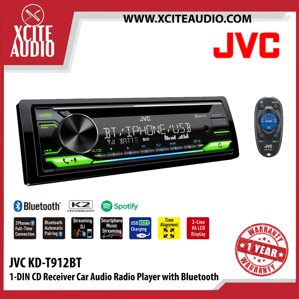 JVC KD-T912BT 1-Din CD Receiver Car Audio Player with Bluetooth - Xcite Audio