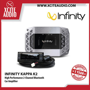 Infinity Kappa K2 Class D High Performance 2-Channel Car Amplifier with Bluetooth - Xcite Audio