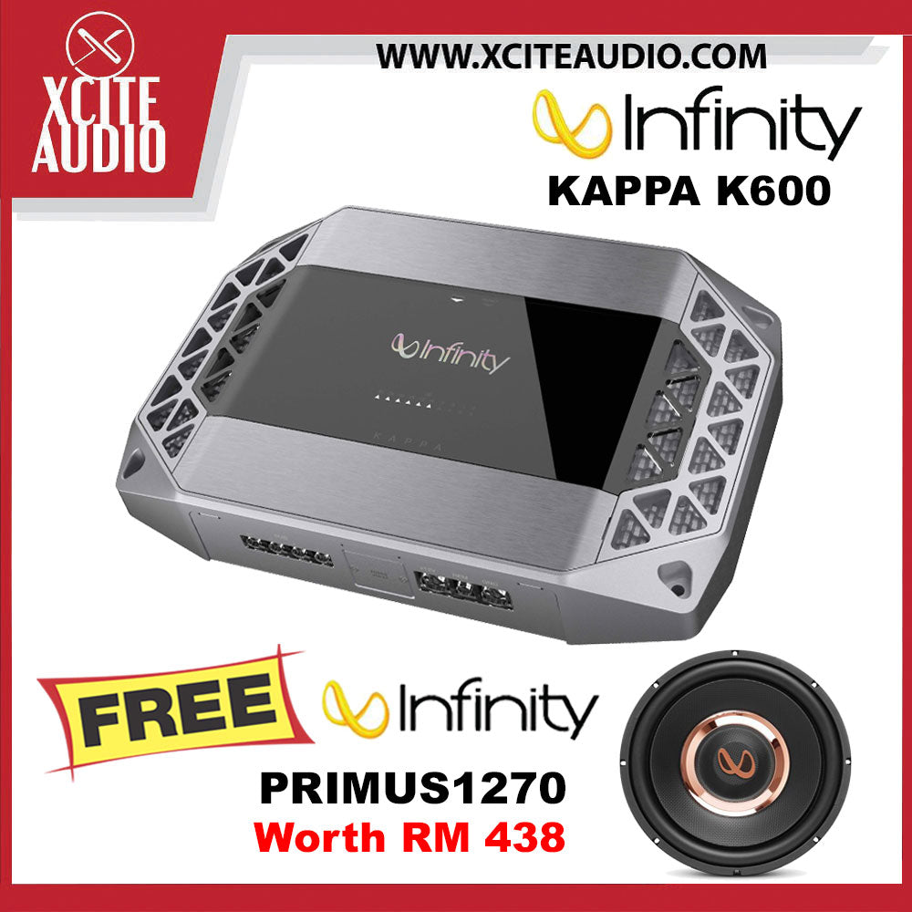 "Infinity Kappa K600 1500W Peak Car Monoblock Amplifier FOC Infinity Primus 1270 12"" 1200Watts 4 Ohms Car Subwoofer - Xcite Audio"