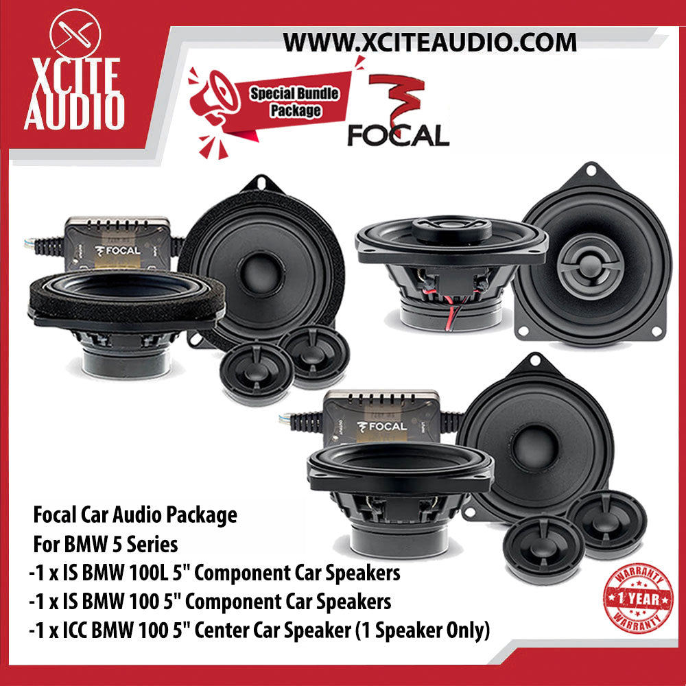 "Focal Car Audio Package Set 10 For BMW 5 Series (1 x IS BMW 100L 5"" Component Car Speakers + 1 x IS BMW 100 5"" Component Car Speakers + 1 x ICC BMW 100 5"" Center Car Speaker) - Xcite Audio"