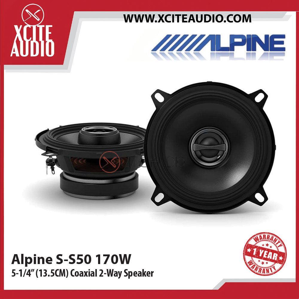 "Alpine S-S50 5.25"" 2-Way S-Series 170 Watts Coaxial Car Speakers - Xcite Audio"