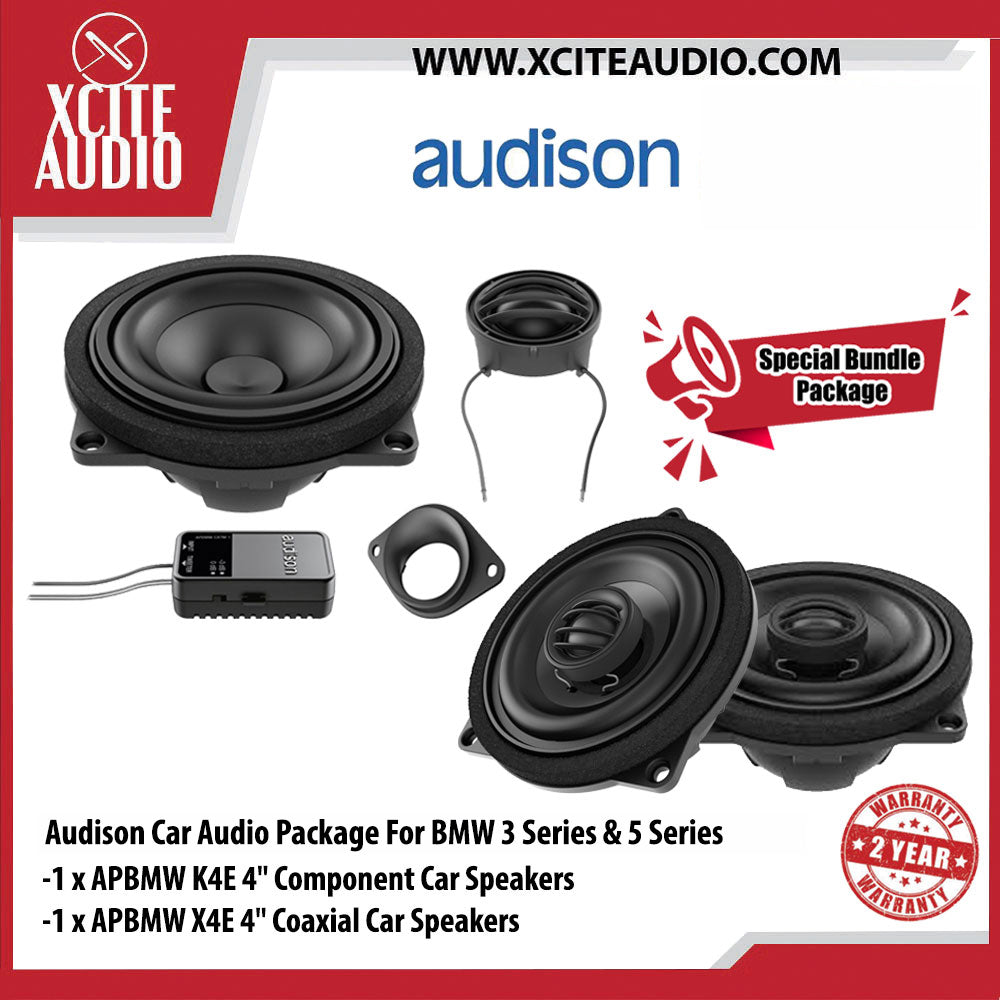 "Audison Car Audio Package Set 4 For BMW 3 & 5 Series (1 x APBMW K4E 4"" Component Car Speakers + 1 x APBMW X4E 4"" Coaxial Car Speakers) - Xcite Audio"
