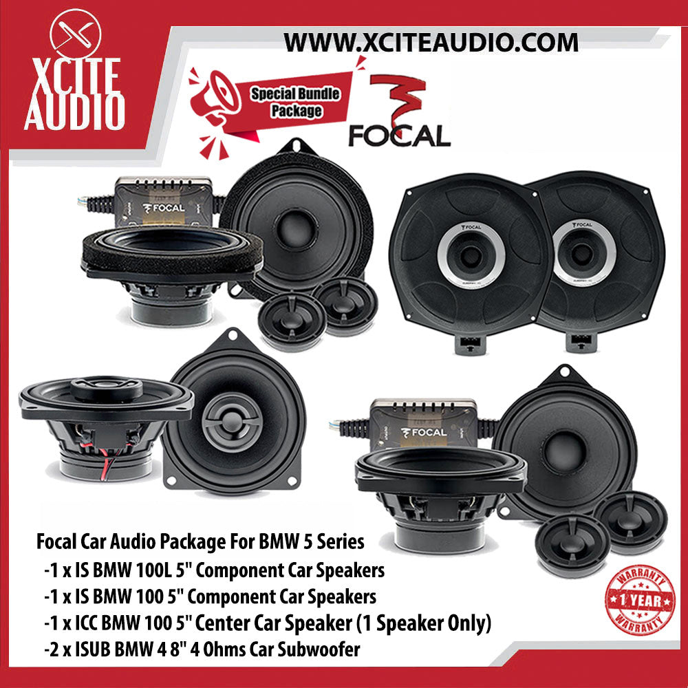 "Focal Car Audio Package Set 12 For BMW 5 Series (1 x IS BMW 100L 5"" Component Car Speakers + 1 x IS BMW 100 5"" Component Car Speakers + 1 x ICC BMW 100 5"" Center Car Speaker + 2 x ISUB BMW 4 8"" Car Subwoofers) - Xcite Audio"