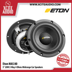 "Eton MAS80 3"" 20W 2-Way 4 Ohms Midrange Hexacone Car Speakers - Xcite Audio"