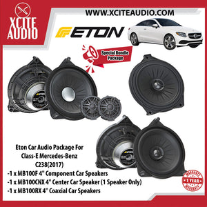 "Eton Car Audio Bundle Package Set 2 for Mercedes-Benz GLC & C-Class & E-Class (1 x MB100F 4"" Component Car Speakers + 1 x MB100RX 4"" Coaxial Car Speakers + 1 x MB100CNX 4"" Center Coaxial Speaker) - Xcite Audio"