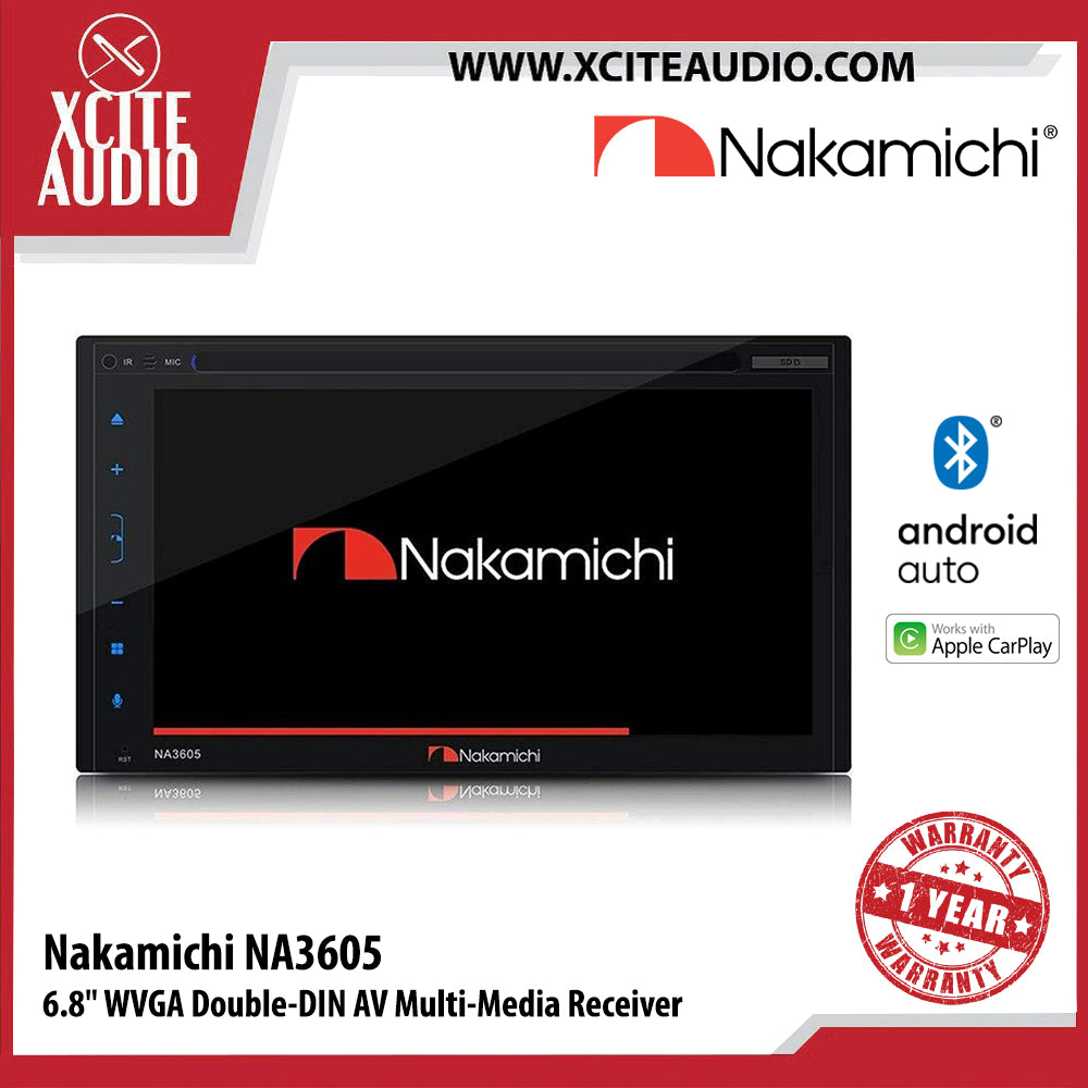 "Nakamichi NA3605 6.8"" WVGA Double-Din AV Digital Multi-Media Receiver Car Headunit Car Player with Bluetooth, CD/DVD - Xcite Audio"