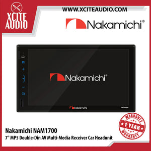 "Nakamichi NAM1700 7"" MP5 Double-Din AV Multi Media Receiver Car Headunit - Xcite Audio"