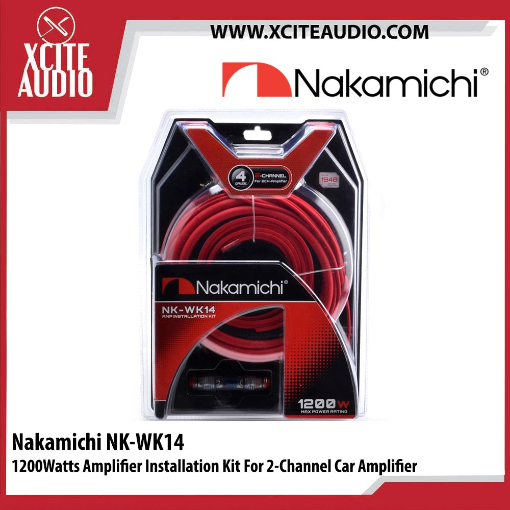 Nakamichi NK-WK14 1200Watts Amplifier Installation Kit For 2 Channel Car Amplifier - Xcite Audio