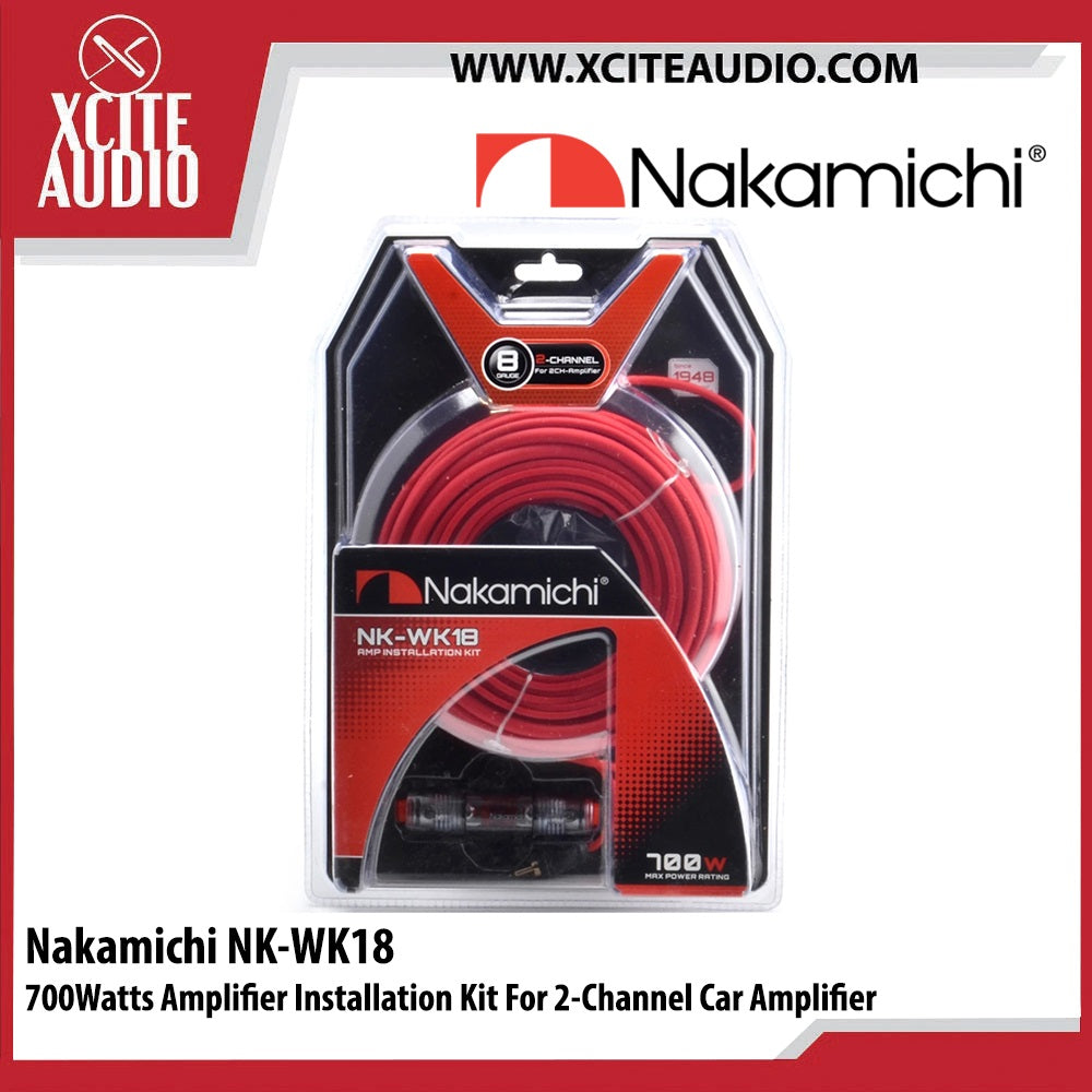 Nakamichi NK-WK18 700Watts Amplifier Installation Kit For 2 Channel Car Amplifier - Xcite Audio
