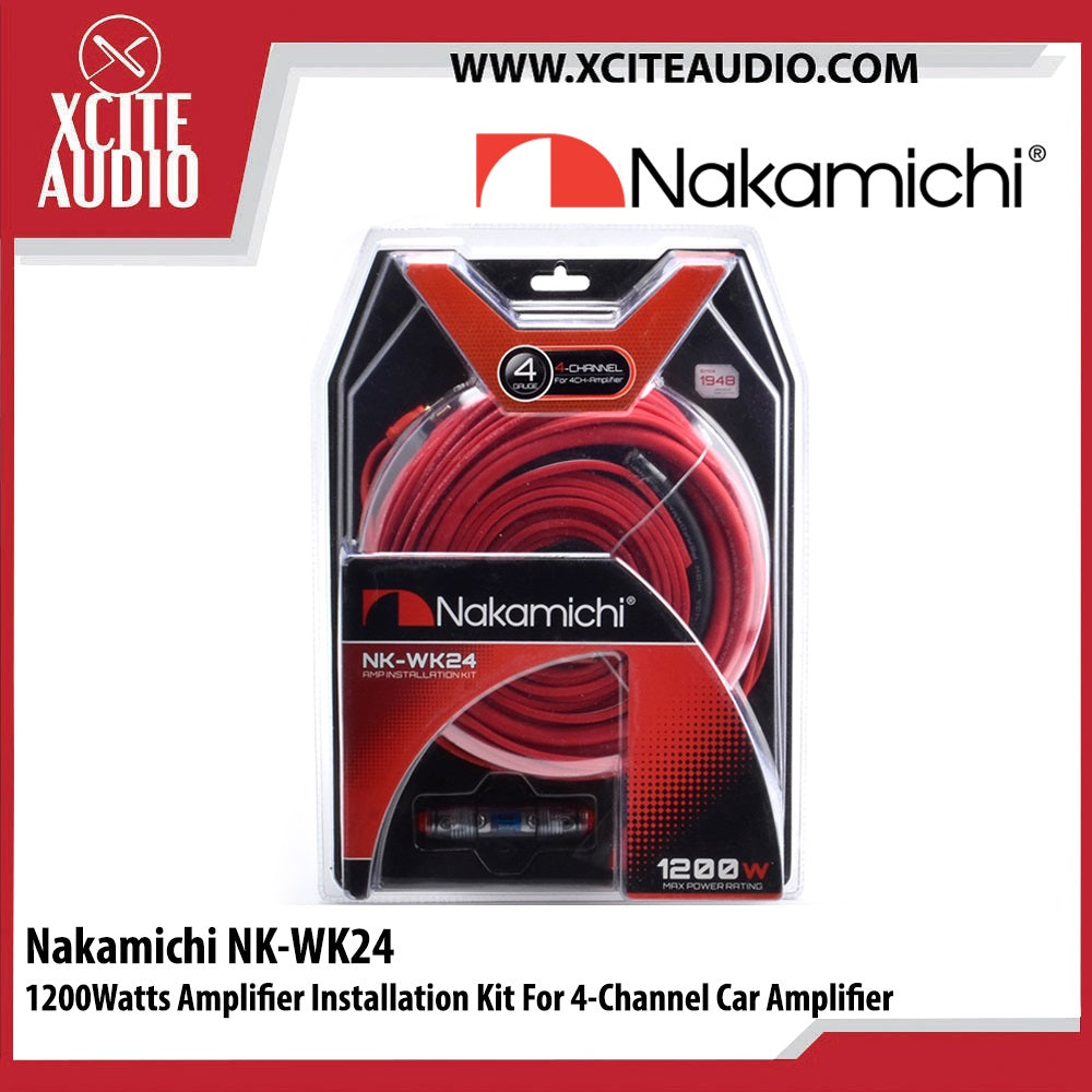 Nakamichi NK-WK24 1200Watts Amplifier Installation Kit For 4 Channel Car Amplifier - Xcite Audio