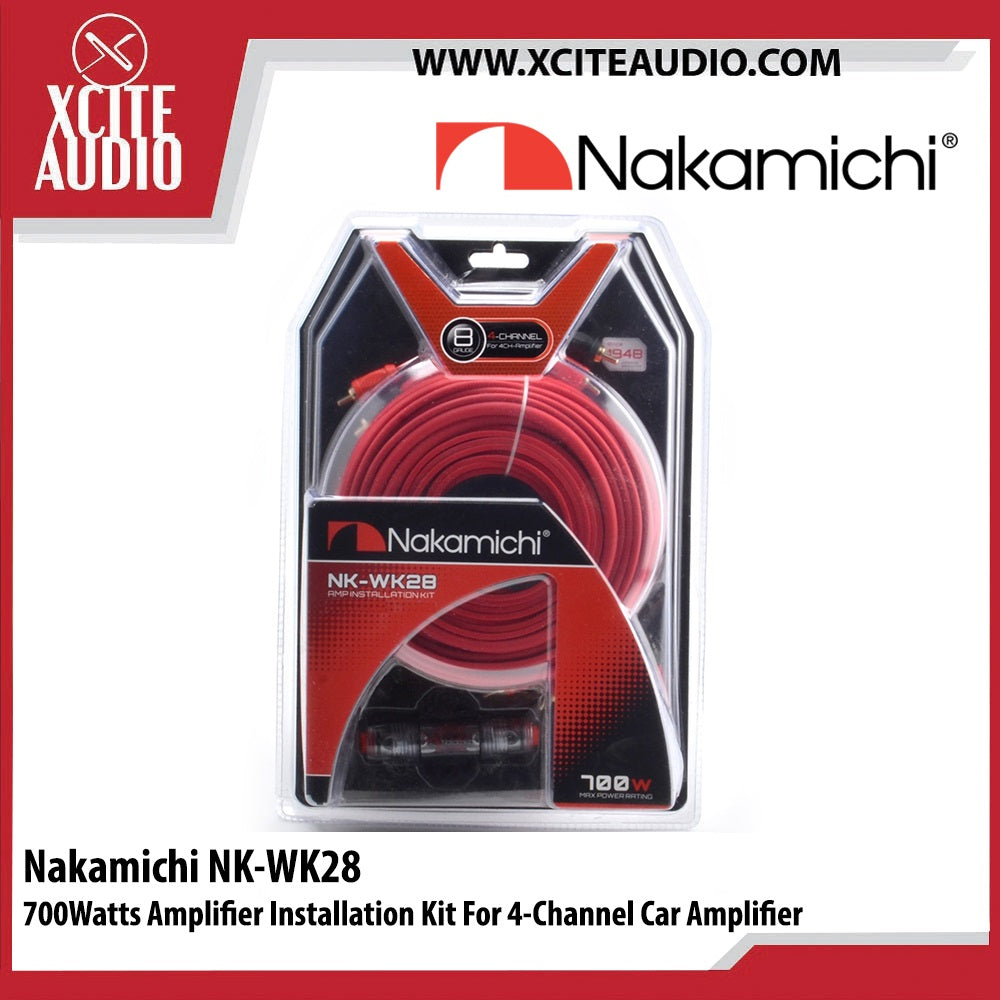 Nakamichi NK-WK28 700Watts Amplifier Installation Kit For 4 Channel Car Amplifier - Xcite Audio