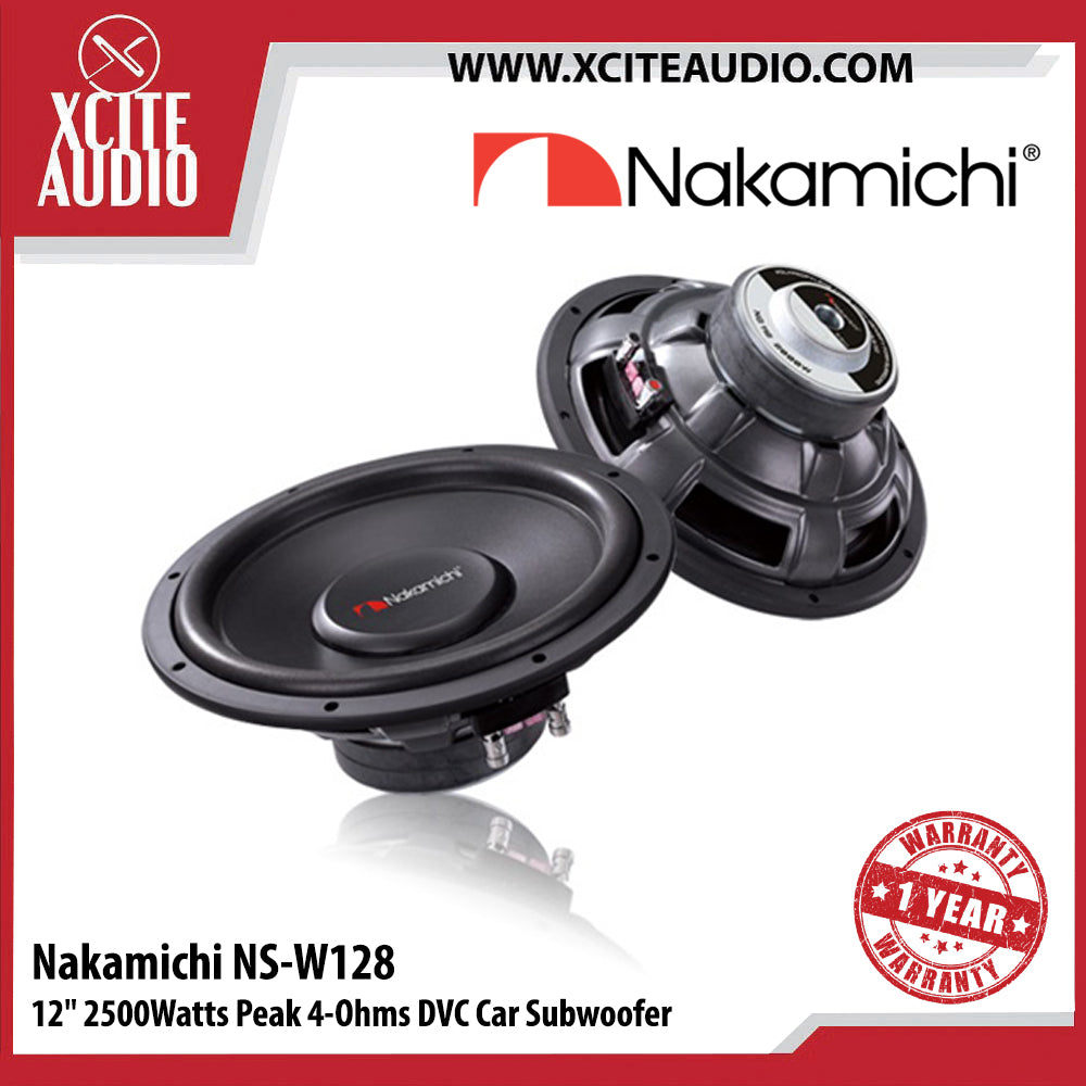 "Nakamichi NS-W128 12"" 2500Watts Peak 4 Ohms Dual Voice Coil Car Subwoofer - Xcite Audio"