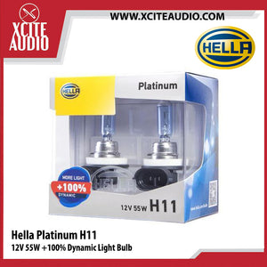 Hella Platinum H11 12V 55W +100% Dynamic Light Bulb Car Headlight Bulb - Xcite Audio