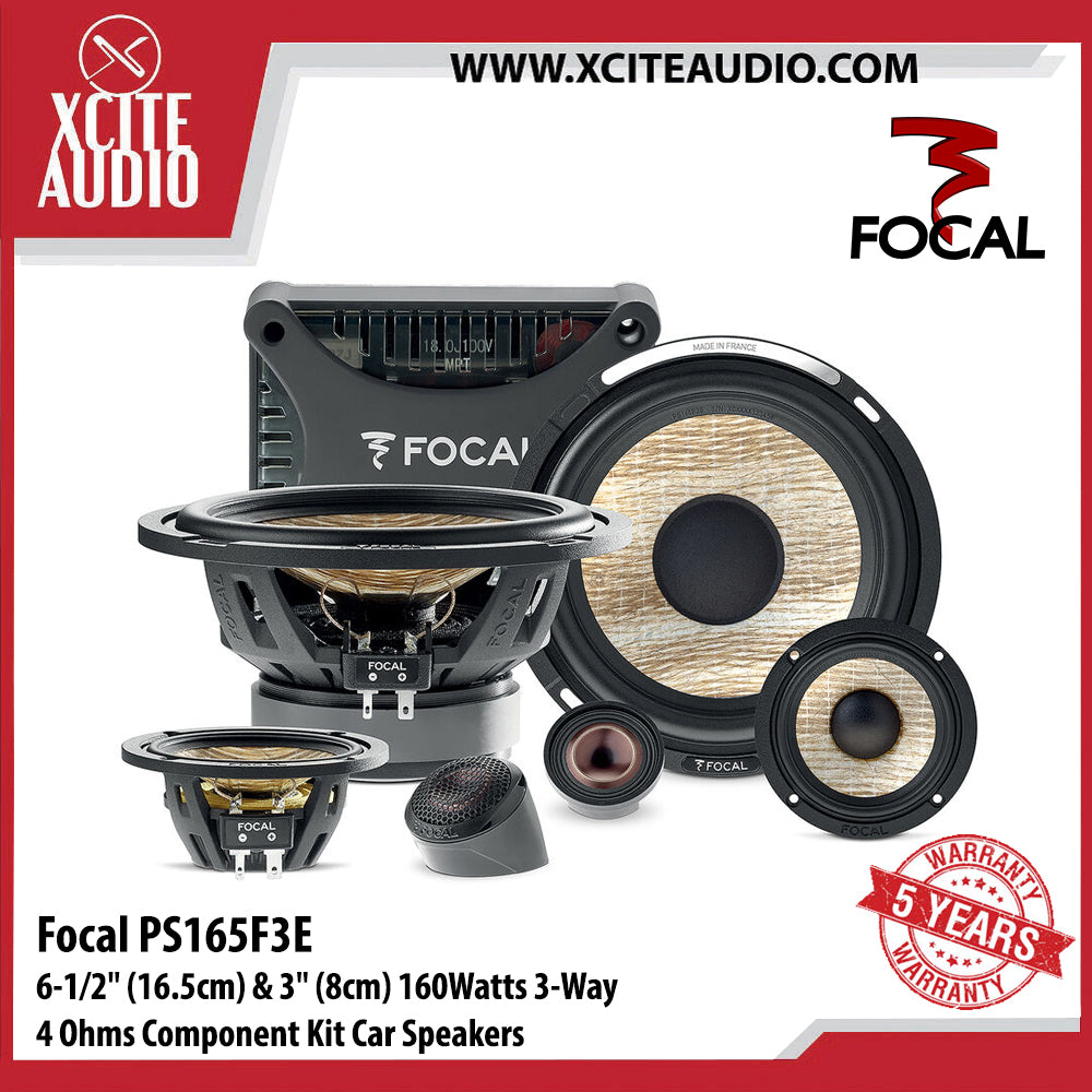 Focal PS165F3E 6-1/2'' (16.5cm) & 3'' (8cm) 160Watts 4 Ohms 3-Way Component Kit Car Speakers - Xcite Audio
