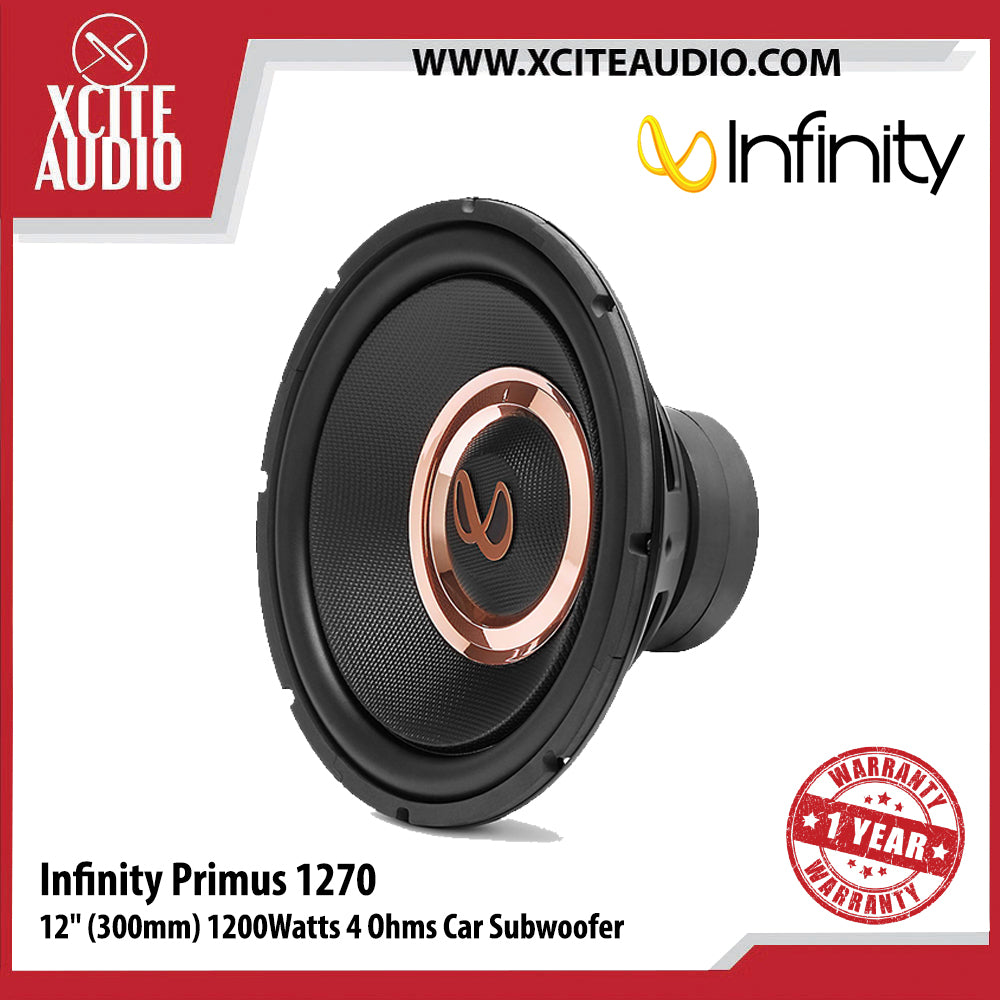 "Infinity Primus 1270 12"" (300mm) High Performance 1200Watts 4 Ohms Car Subwoofer - Xcite Audio"