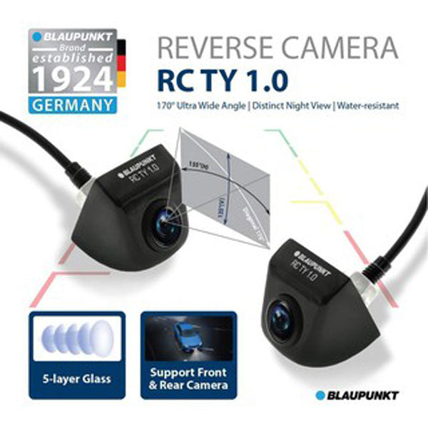 Blaupunkt RCTY 1.0 170° CMOS Sensor 5-Layer Glass Car Reverse Camera Suitable for Toyota Factory Player - Xcite Audio