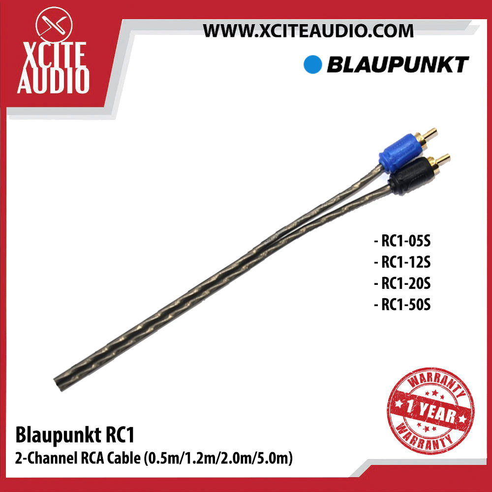 Blaupunkt RC1-20S 2-Channel RCA Cable For Car Radio & Car Amplifier (2.0m) - Xcite Audio