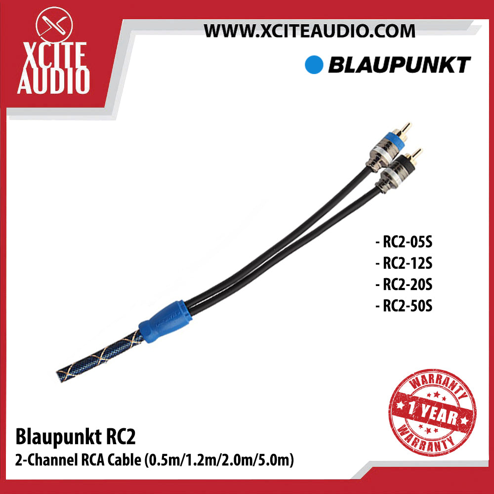 Blaupunkt RC2-12S 2-Channel RCA Cable For Car Radio & Car Amplifier (1.2m) - Xcite Audio