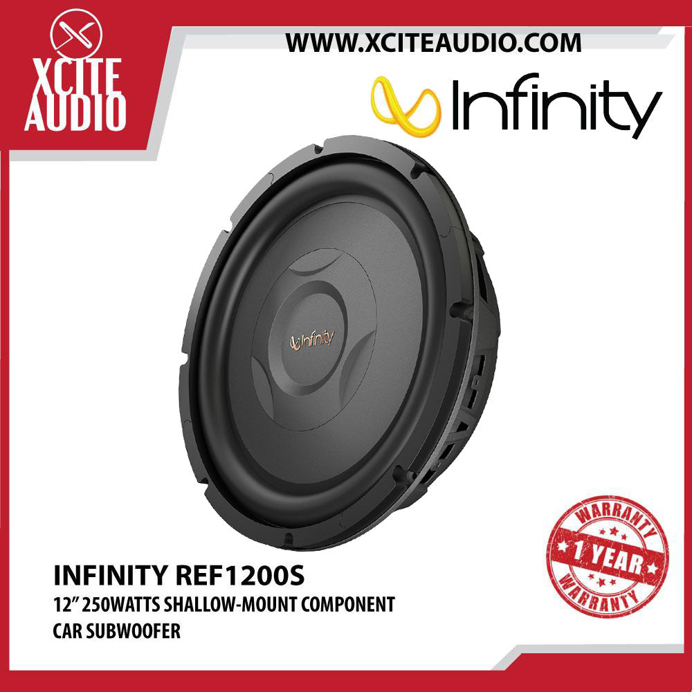 "Infinity REF1200S 12"" 250Watts Reference Series Shallow-Mount Component Car Subwoofer - Xcite Audio"