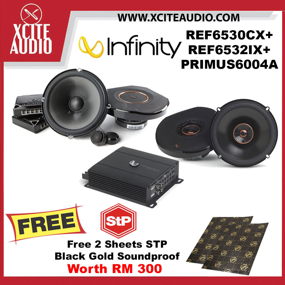 Infinity REF-6530CX + REF-6532IX Car Speakers + PRIMUS6004A Car Amplifier FOC 2 x STP Black Gold Soundproof - Xcite Audio