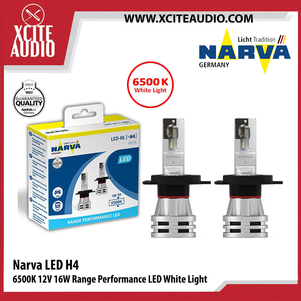 Narva LED H4 6500K 12V 16W Range Performance LED White Light Car Headlight Bulb - Xcite Audio