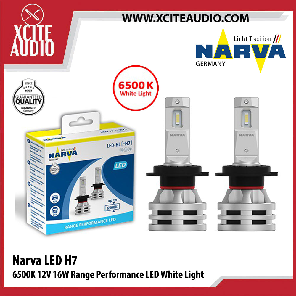 Narva LED H7 6500K 12V 16W Range Performance LED White Light Car Headlight Bulb - Xcite Audio
