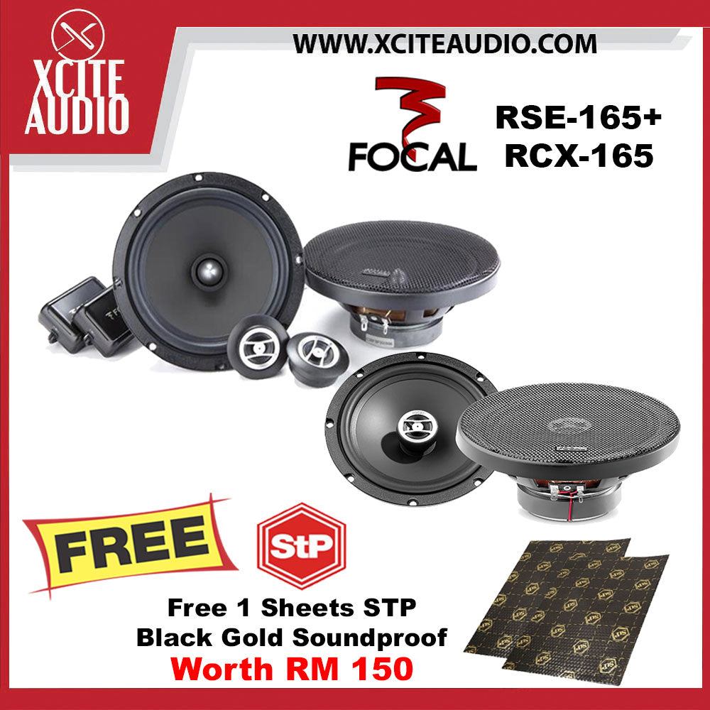 "Focal RSE-165 6.5"" 2-Way Component Car Speakers + Focal RCX-165 6.5"" 2-Way Coaxial Car Speakers FOC 1 x STP Black Gold Soundproof - Xcite Audio"