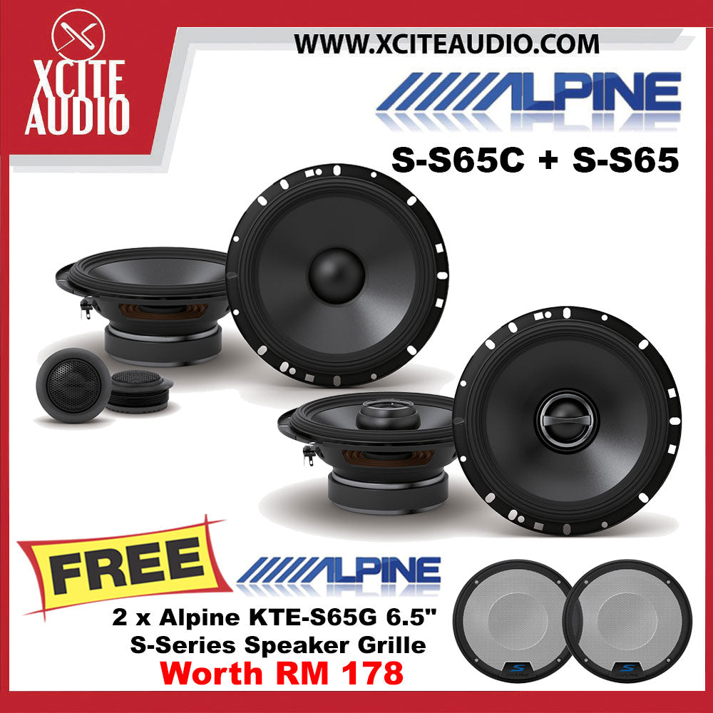 "Alpine S-S65C 6.5"" 2-Way Component Speakers + Alpine S-S65 6.5"" 2-Way Coaxial Speakers FOC 2 x Alpine KTE-S65G Grilles - Xcite Audio"