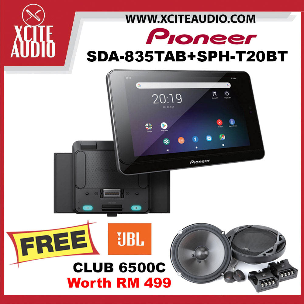 "Pioneer SDA-835TAB+SPH-T20BT 8"" Bluetooth USB Android Tablet Car Headunit FOC JBL CLUB 6500C 6.5"" Component Car Speakers - Xcite Audio"