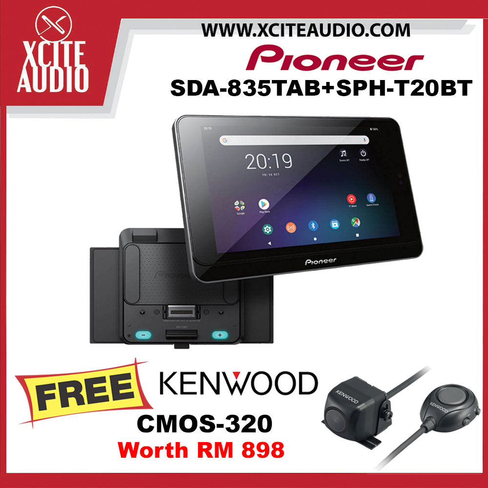 "Pioneer SDA-835TAB + SPH-T20BT 8"" Bluetooth USB Android Tablet Car Headunit FOC Kenwood CMOS-320 Rear View Car Camera - Xcite Audio"