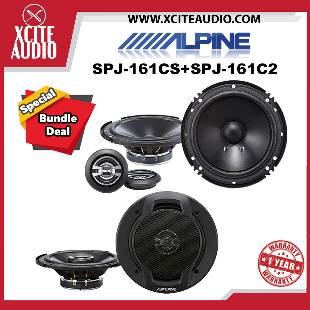 "Alpine SPJ-161CS 6"" 2-Way Component Car Speakers + Alpine SPJ-161C2 6"" 2-Way Coaxial Car Speakers - Xcite Audio"