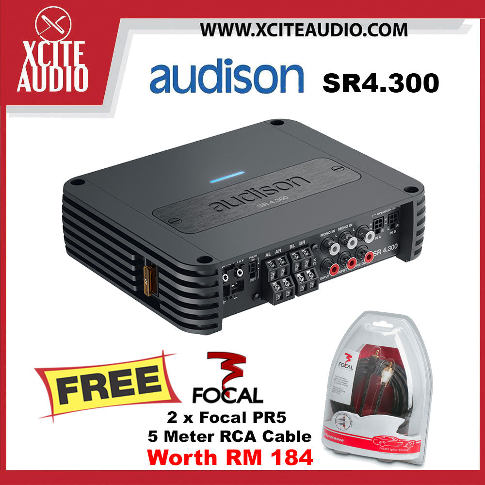 Audison SR4.300 Class-D 4-Channel 85Watts 4 Ohms Car Amplifier FOC 2 x Focal PR5 Performance 5 Meter RCA Cord Cable - Xcite Audio
