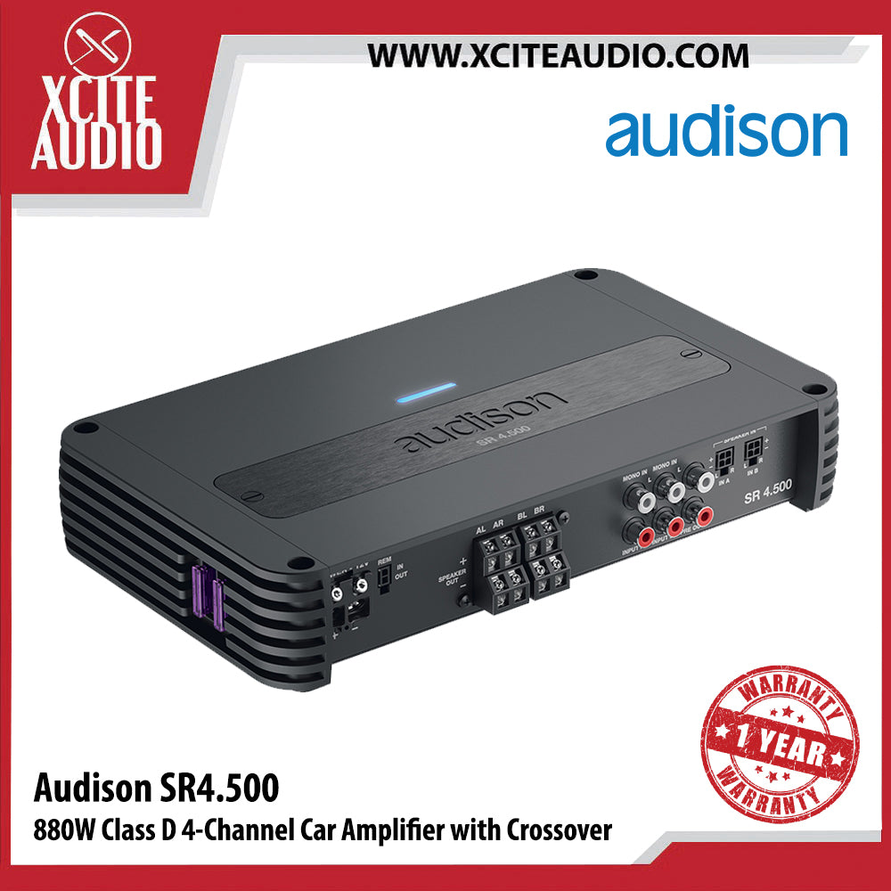 Audison SR4.500 880 Watts Class D 4-Channel Car Amplifier with Crossover - Xcite Audio
