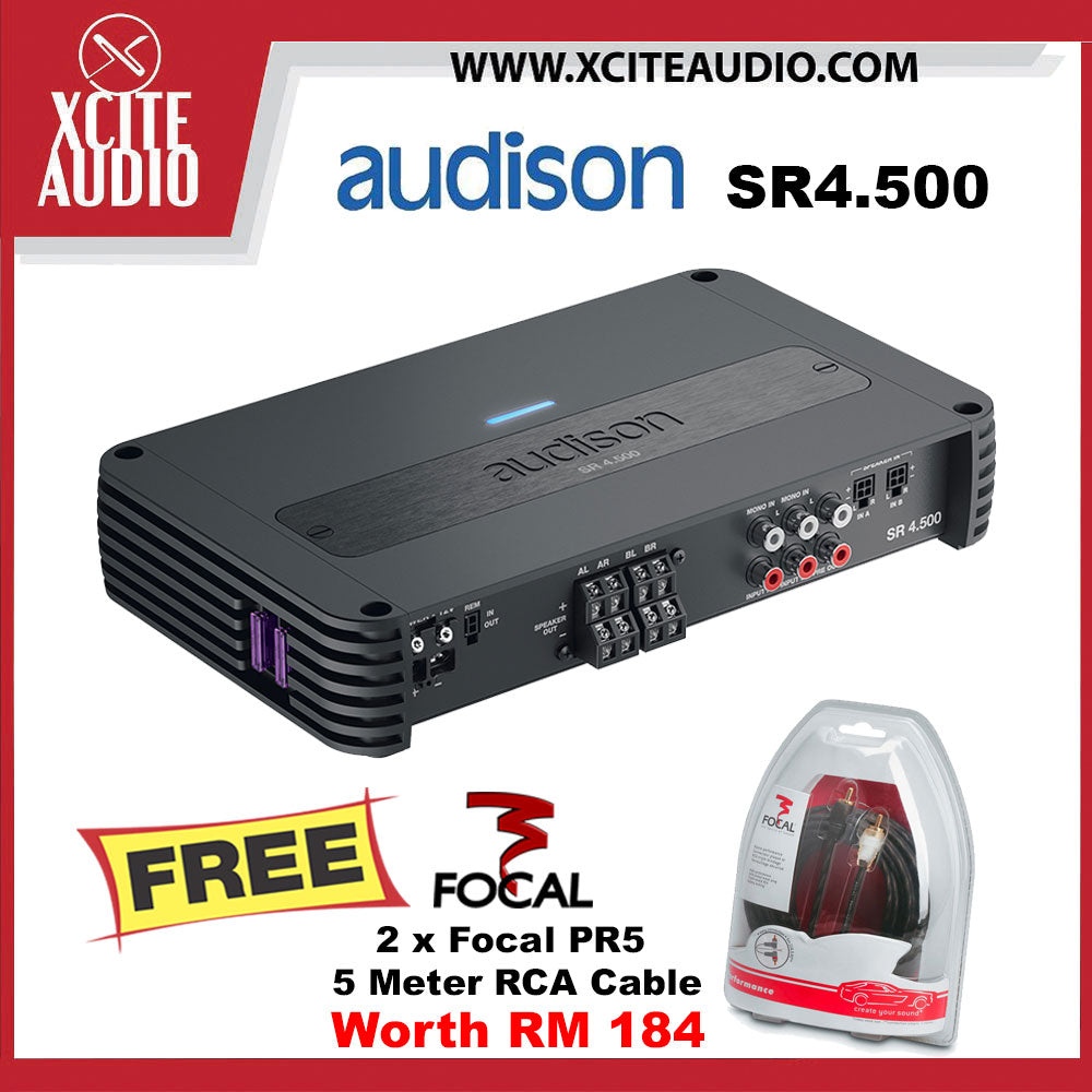 Audison SR4.500 880Watts Class D 4-Channel Car Amplifier with Crossover FOC 2 x Focal PR5 Performance 5 Meter RCA Cord Cable - Xcite Audio