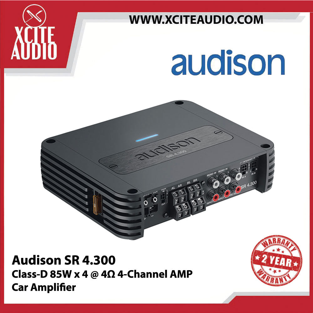 Audison SR 4.300 Class D 4-Channel 85 W x 4 @ 4Ω Car Amplifier - Xcite Audio