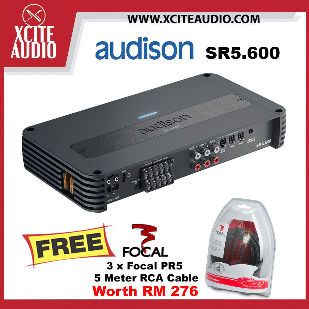 Audison SR5.600 1000W Class-D 5-Channel Amp Car Amplifier FOC 3 x Focal PR5 Performance 5 Meter RCA Cord Cable - Xcite Audio