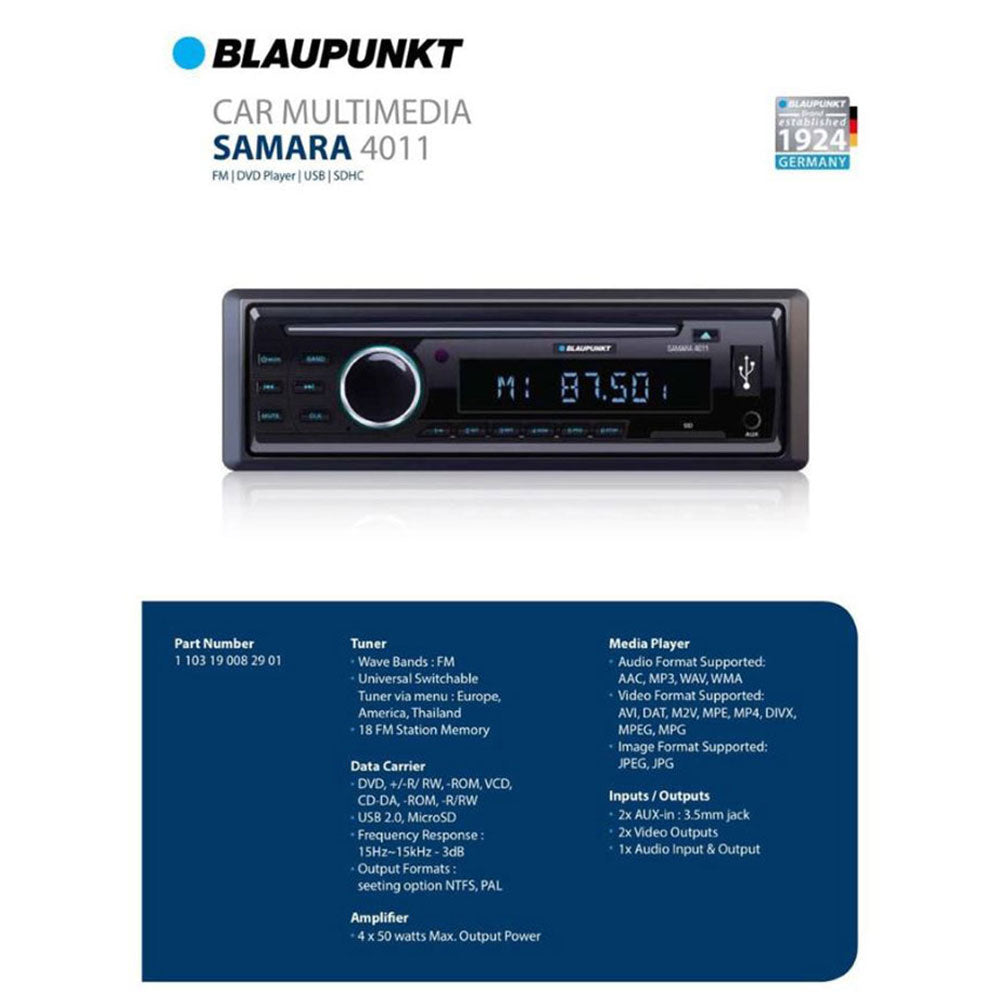 Blaupunkt Samara 4011 Single-Din DVD FM USB AUX-IN SD MP3 Car Headunit - Xcite Audio