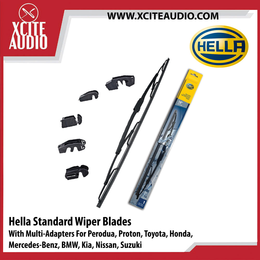 Hella Standard Wiper Blades Car Windshield Wiper With Multi-Adapter For Nissan Almera, Grand Livina, Navara, Navara NP300, Sentra, X-Trail (T30, T31, T32) - Xcite Audio