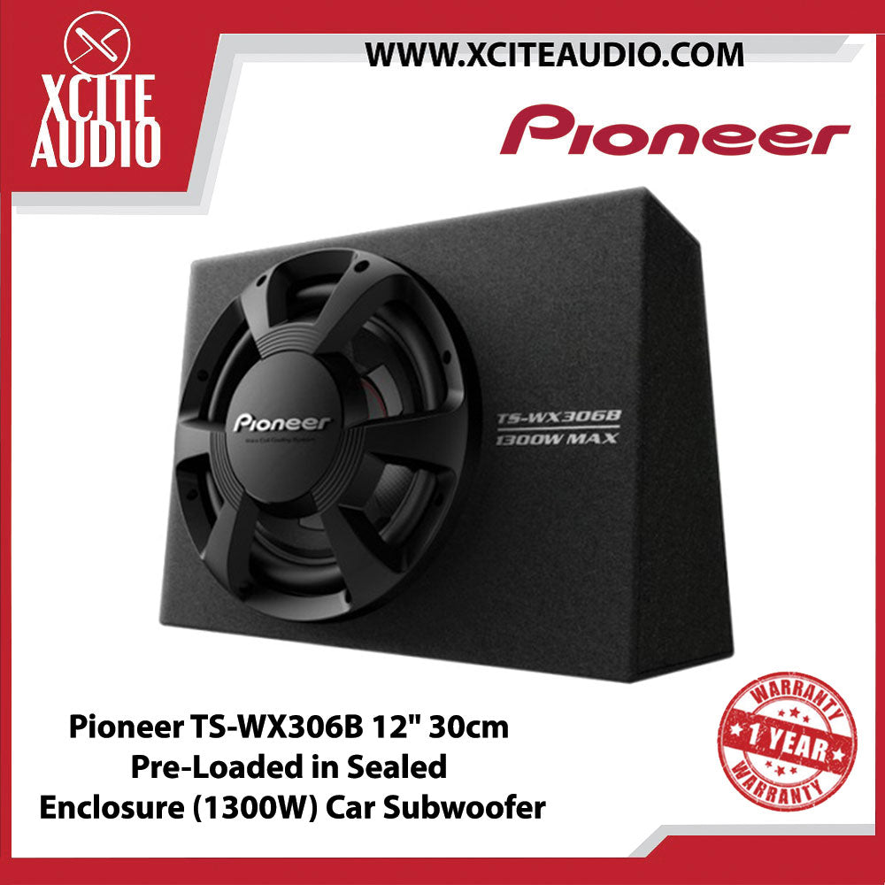 "Pioneer TS-WX306B 12"" 30cm Pre-Loaded in Sealed Enclosure (1300W) Car Subwoofer"