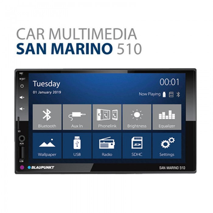 "Blaupunkt San Marino 510 7"" 2-Din Capacitive Touch Screen Bluetooth/SWC/PhoneLink/Support FHD Video Playback Car Headunit - Xcite Audio"