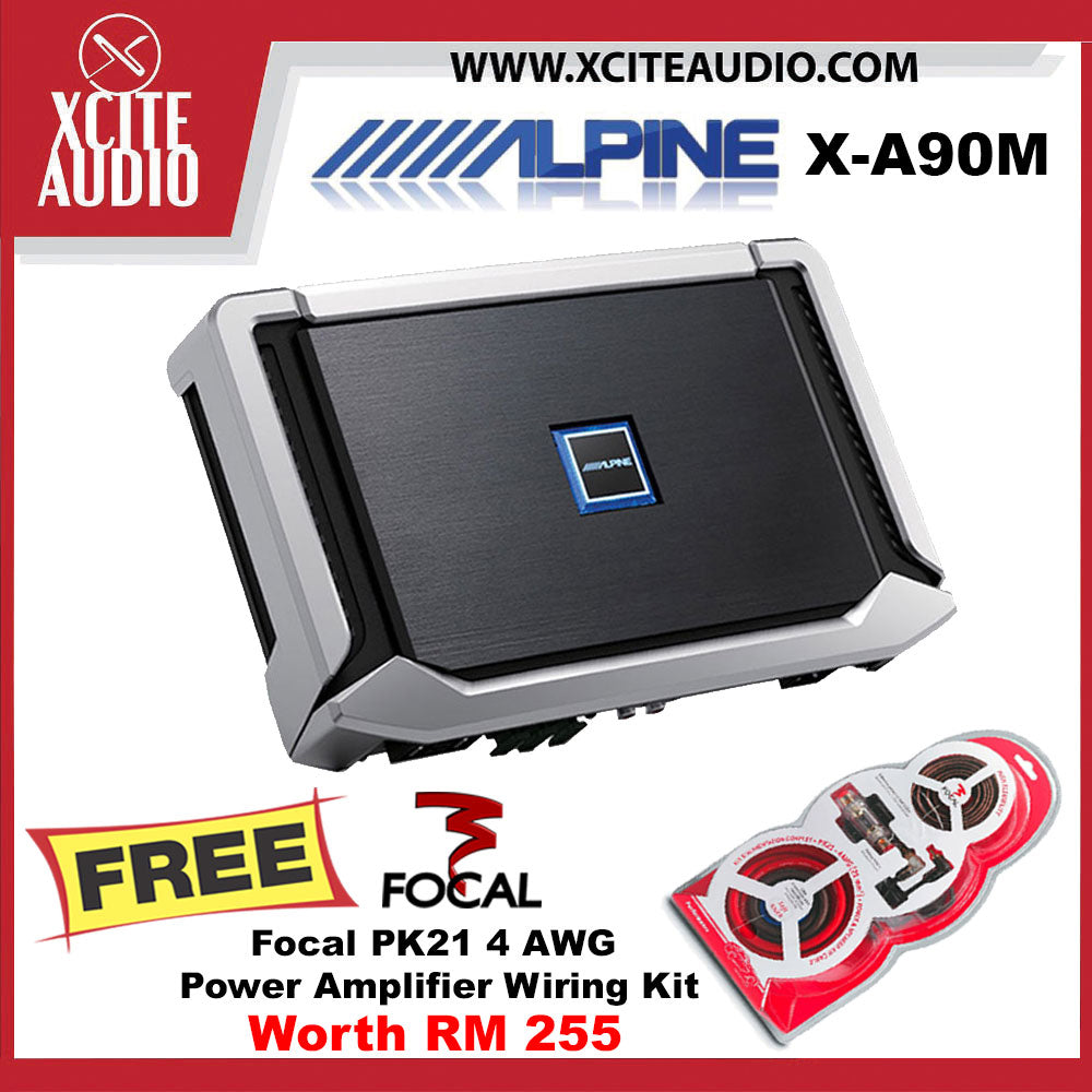 Alpine X-A90M X-Series Class-D Hi-Res Monoblock Car Amplifier FOC Focal PK21 4 AWG Amplifier Wiring Install Kit - Xcite Audio