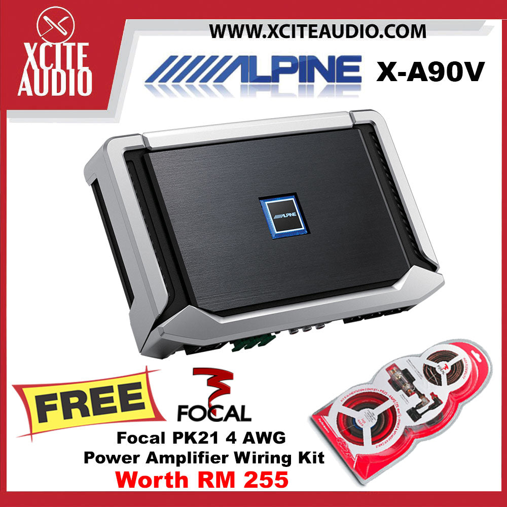 Alpine X-A90V X-Series Hi-Res 5 Channel Car Power Density Amplifier FOC Focal PK21 4 AWG Amplifier Wiring Install Kit - Xcite Audio