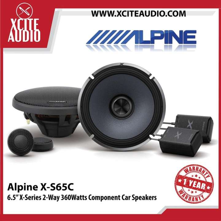 "Alpine X-S65C 6.5"" 2-Way X-Series Hi-Res 360Watts Component Car Speakers - Xcite Audio"