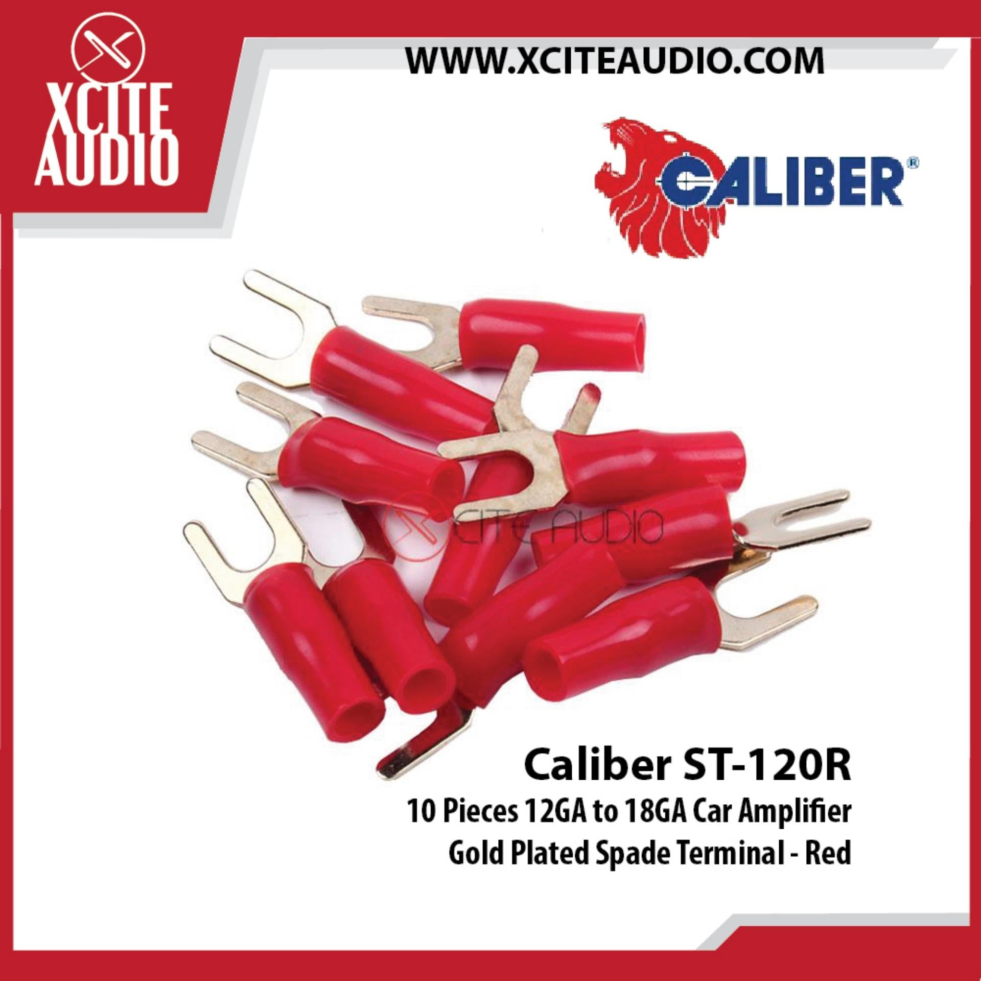 Caliber ST-120R 10 Pieces 12GA to 18GA Car Amplifier Gold Plated Spade Terminal - Red - Xcite Audio