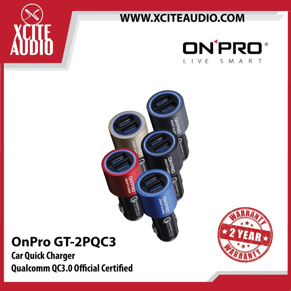 OnPro GT-2PQC3 Engine Ignition Protection Qualcomm QC3.0 Car Charger - Xcite Audio